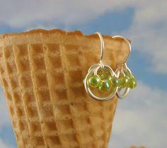 Silver Beaded Earrings  Berries In A Basket  in by favmoongirl, $10.00