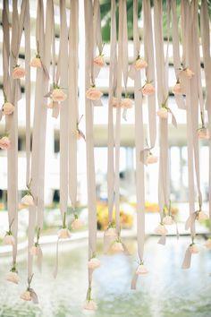 Ribbon and rose backdrop: http://www.stylemepretty.com/destination-weddings/2015/03/16/elegant-new-orleans-inspired-hawaiian-wedding/ | Photography: Rebecca Arthurs - rebeccaarthurs.com