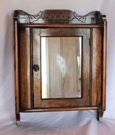 Antique Victorian Nouveau Oak Medicine Cabinet Curio Shelf