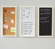 In addition to a monthly or daily calendar, a place to write or pin notes helps clarify your schedule. (Pottery Barn Kids)
