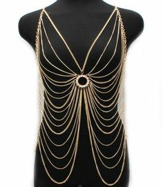 Body Chain Gold Armor Circle Crystals Armour Statement Cage Avant Garde -#Party $22.99 PLUS free thank you gift with purchase! @modtoast