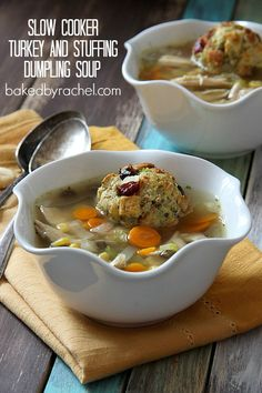 Slow Cooker Turkey and Stuffing Dumpling Soup Recipe from bakedbyrachel.com A fun and tasty way to use up leftover Thanksgiving turkey.