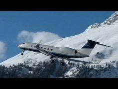 Gulfstream G-550 awesome valley landing & take-off @ Samedan - 22/01/2014