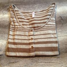 brown/gray striped top mid sleeve, light gray and brown stripes. worn once, like new condition. size large Xhilaration Tops