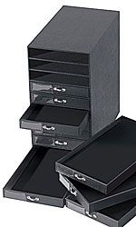 10 DRAWER BLACK LEATHERETTE JEWELRY STORAGE ORGANIZER - 55397