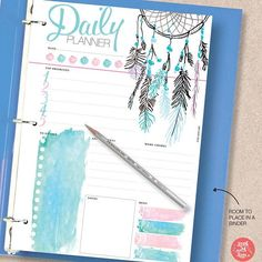 Dream Catcher Printable Planner Pack: - Includes 5 planners: Daily Planner, Weekly Planner, Monthly Planner, To Do List and Notes. #ad #planner #dailyplanner #printables