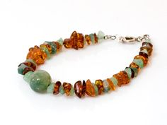 Amber Aventurin and Moss Agate natural by HeymesBalticAmber, $32.00