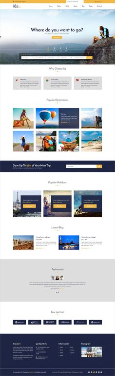 Travelinn is clean and modern design #PSD template for #travel agencies website with 36 layered PSD pages download now..