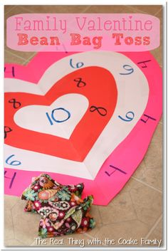 Simple and inexpensive activity for the family ~ Valentine's Bean Bag Toss #Family #Valentine's