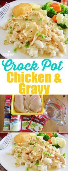 Crock pot chicken and gravy. Crock Pot Chicken and Gravy recipe from The Country Cook. This recipe for Crock Pot Chicken and Gravy is a family favorite. Chicken, gravy mix, cream of chicken, sour cream and seasoning. Delicious and creamy! Crockpot Dishes, Crock Pot Slow Cooker, Crock Pot Cooking, Crock Pots, Cheap Crock Pot Recipes, Crockpot Meals Easy Chicken, Simple Chicken Recipes, Cooking Steak, Freezer Recipes