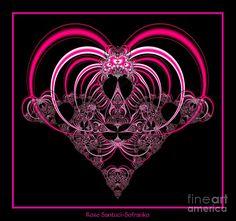 Fractal Roses   Fuchsia Pink Heart Fractal 77 Digital Art