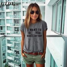 Letters Print Short Sleeve Loose Stylish Casual Solid Gray Tee Shirts