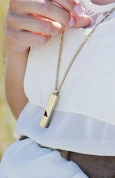 gold whistle charm necklace. $12.00, via Etsy.
