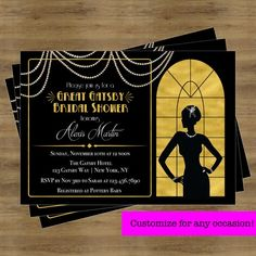Party Invitation Template Free New Great Gatsby Invitation Gatsby Bridal Shower Invitation Art Deco Invitations, Bridal Shower Invitations, Party Invitations, Invitation Templates, Wedding Invitation, Great Gatsby Invitation, Rehearsal Dinner Invitations, 1920s Party, Great Gatsby Wedding