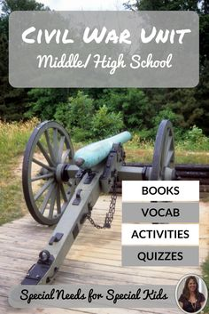 This 76 page unit on the Civil War was designed for students with autism and special learning needs in a middle and high school setting. Includes:  book, activities, vocabulary cards, and assessments. Download at:  https://www.teacherspayteachers.com/Product/Civil-War-Unit-for-Special-Education-2488955