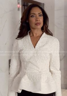 Jessica's white textured peplum jacket on Suits.  Outfit Details: https://wornontv.net/58792/ #Suits