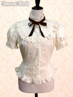 Rose Cotton Lace Blouse (Beige x Brown)