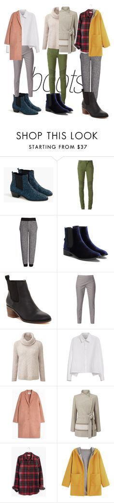 """Chelsea boots"" by katherineew ❤ liked on Polyvore featuring J.Crew, Balmain, Joseph, Matt Bernson, WtR London, Y's by Yohji Yamamoto, Acne Studios, Jacques Vert and Madewell"