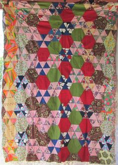Bright HEXAGONS & TRIANGLES Vintage Quilt by AntiqueQuiltRevival, $125.00
