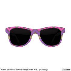 Mixed colours Chevron Stripe Print White Sunglasses