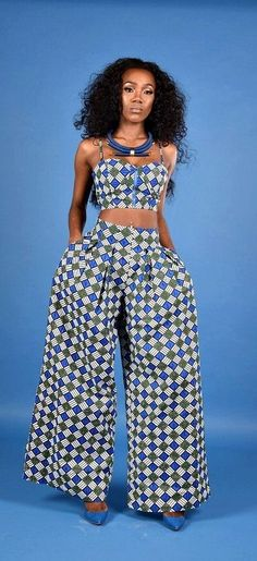 Beautiful Ankara Street Styles To Change Your Appearance - MOMO AFRICA Kathy Palazzo pant -Rahyma. Pleated front and back waist with invisible zipper. African Fashion Ankara, Ghanaian Fashion, African Inspired Fashion, African Print Fashion, Nigerian Fashion, African Dresses For Women, African Attire, African Wear, African Women