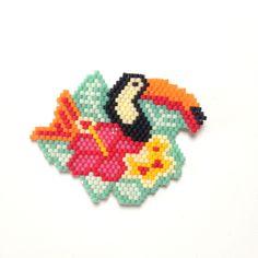 Tissage brick stitch esprit tropical
