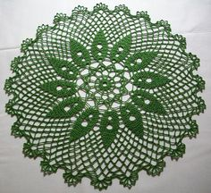 Grass green crochet doily, approx: 16.5inch/42.5cm perfect for summer. (two for sale) FREE SHIPPING $35.00 USD