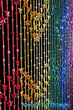 Stars U0026 Moons Beaded Curtain   Rainbow Iridescent   3 Ft X 6 Ft