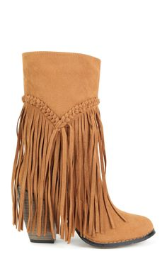 Deb Shops tall fringe boot with block heel $46.50