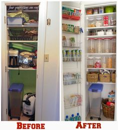 How to create and organize a kitchen pantry on a budget. Our Organized Kitchen Pantry {closet} Reveal - Four Generations One Roof #kitchen #storage #pantry #food #organization