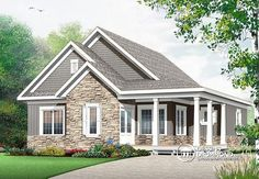 Discover the plan - Galerno 5 from the Drummond House Plans house collection. Country rustic home with large bonus room, up to 4 bedrooms, home office, kitchen island & pantry. Total living area of 1847 sqft. Country Style House Plans, Craftsman Style House Plans, House Plans And More, Small House Plans, Cool House Plans, Plan Chalet, Drummond House Plans, Traditional House Plans, Architectural Design House Plans
