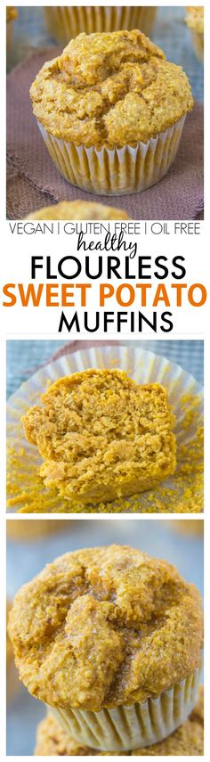 Healthy Flourless Sweet Potato Muffins recipe- Hands down, the BEST sweet potato muffins you'll ever eat- You won't even know they are healthy! NO butter, oil, white sugar or flour! {vegan, gluten free, sugar free}