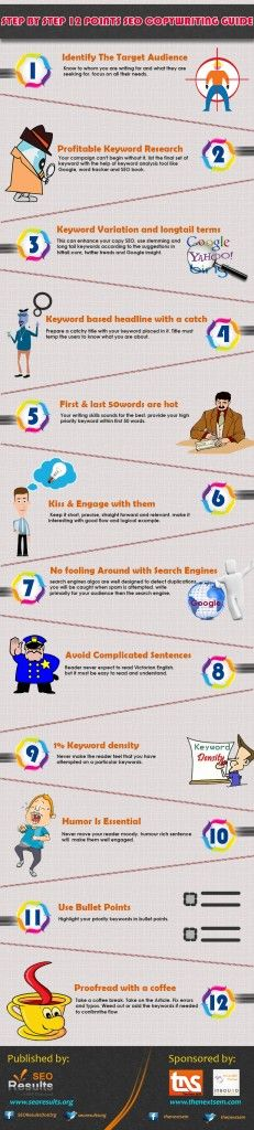 Fresh on IGM > SEO Copywriting Guide: SeoResults.org in collaboration with The Next Sem offer content creators 12 useful on-page SEO tips to remember before start tapping in vain. Copywriting for the web talks to the engines prior your audience but you should be cautious  See how.  > http://infographicsmania.com/seo-copywriting-guide/