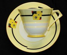 ROYAL PARAGON VOGUE YELLOW BLACK WHITE TEA CUP AND SAUCER