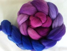 Hand Dyed Polwarth Top 4 Oz.  Purple to Blue by FriendsinFiber