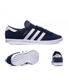 best service 79d65 9617e Adidas Originals Hamburg Navy White And Gold Trainers Gold Trainers, Mens  Trainers, Sale Uk