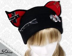 Cat Kitty Fleece Hat  Anime Cosplay Punk JRock  (Blood Red Ears with Zippers Ears) via Etsy