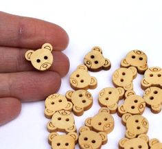 Wooden Buttons Teddy Bear 20 pcs13mm by RainbowLollies on Etsy, $3.00