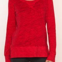 Splendid Space Dyed Active Pullover - * Color: Vermillion * Self: 100% Cotton * Contrast: 96% Cotton, 4% Spandex * Contrast 2: 98% Cotton, 2% Spandex * Scoop line * Side slits * Ribbed knit edges - $88.00