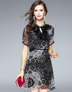 #AdoreWe #VIPme Skater Dresses❤️Designer Fantiow Black Silk Print Elegant Evening Mini Dress - AdoreWe.com