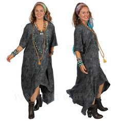 SUNHEART GODDESS bohemian Hippie chic Graphite Gray HERA asym hi-low lagenlook layering Tunic or Dress Sml-Med-Large-xl-1x-2x-3x