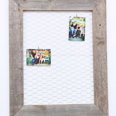 This rustic reclaimed wood and chicken wire message board is perfect for any home. Leave notes or display pictures on this beautiful piece.