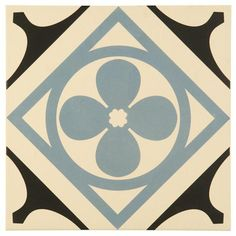 Quatrefoil Black Black, Light  Blue