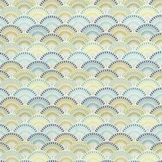 Tissu coton épais éventails vert et bleu   - Mondial Tissus