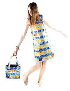 Capri sun handmade dress & bag | recycled fashion