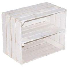 Massive neue weiß lasierte Holzkistekiste z.B. als Schuh- und CD/Bücherregal - Obstkiste mit Zwischenbrett-2