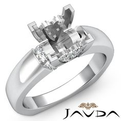 Diamond Engagement European Shank Ring 14k White Gold Princess Semi Mount 0.35Ct #Javda #SolitairewithAccents not a fan of the hearts