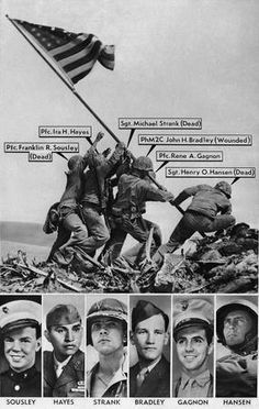 Joe Rosenthal's Pulitzer Prize winning AP photo of the Feb. 23, 1945 flag raising on Mt. Suribachi, Iwo Jima, was originally misidentified by military sources. Originally identified, from left, in this vintage graphic: Pfc. Franklin R. Sousley; Pfc. Ira Hayes; Sgt. Michael Strank; Pharmacist's Mate 2nd Class John H. Bradley; Pfc. Rene A. Gagnon; Sgt. Henry O. Hansen. The Marine at far right was later correctly identified as Cpl. Harlon Block, not Sgt. Henry O. Hansen.