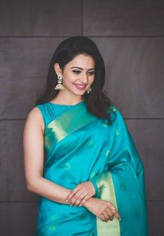 Rakul preet singh in Sky blue saree Sari Blouse Designs, Fancy Blouse Designs, Choli Designs, Blouse Patterns, Saree Poses, Stylish Blouse Design, Saree Trends, Stylish Sarees, Indian Outfits