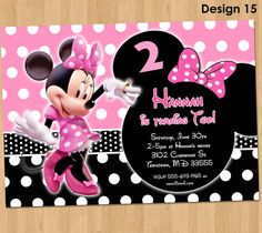 Minnie Mouse Invitation - Minnie Mouse Birthday Invitation - Pink Minnie Mouse Party Invite Printable Ideas Boutique Light Pink and Black Minnie Mouse Birthday Invitations, Minnie Birthday, Pink Invitations, Birthday Invitation Templates, First Birthday Parties, First Birthdays, Personalized Invitations, Minnie Mouse Pink, Minnie Mouse Party